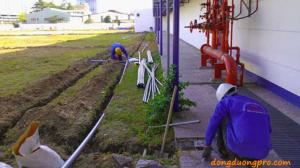 Hình ảnh thi công hệ thống tưới cỏ tự động sân vườn công viên nhà máy