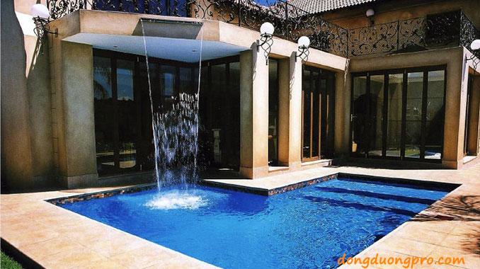 Thiết kế bể bơi có thác nước tràn nghệ thuật theo nhạc