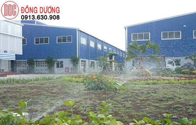 Lắp đặt hệ thống tưới cây tưới cỏ nhà máy khu công nghiệp